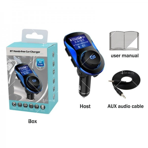 Bluetooth трансмитер за автомобил с подвижен корпус, USB изход и TF ВС28 HF26 15