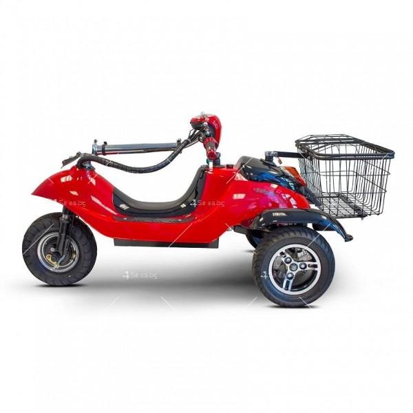 Червена ретро електрическа триколка със заден кош за багаж TRIKOK2 3
