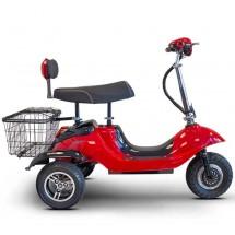 Червена ретро електрическа триколка със заден кош за багаж