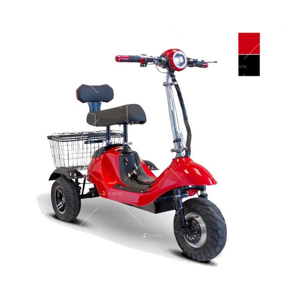 Червена ретро електрическа триколка със заден кош за багаж TRIKOK2 9