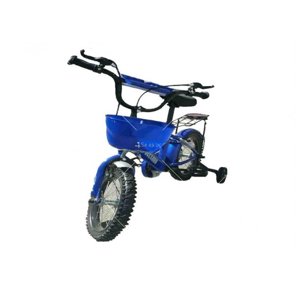Велосипед за деца до пет години с помощни колела и кош 2