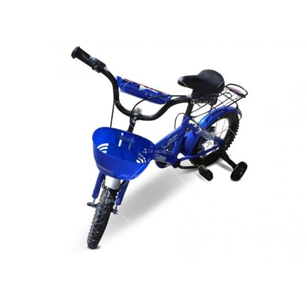 Велосипед за деца до пет години с помощни колела и кош 3