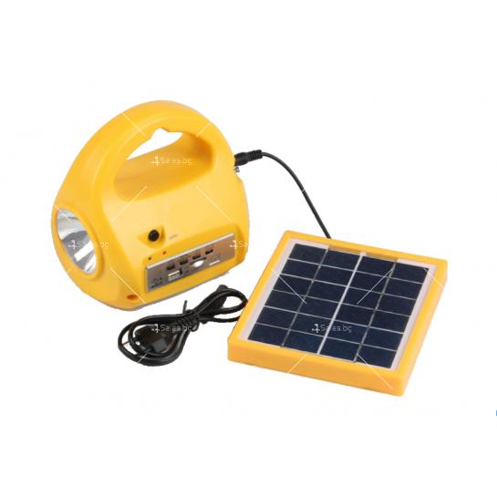 Фенер със соларно зареждане, MP3 плеър и FM радио
