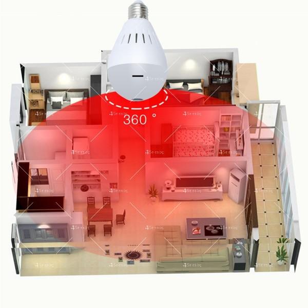 Електрическа крушка с 360 градуса панорамна HD камера, WI FI , SD слот IP10 1