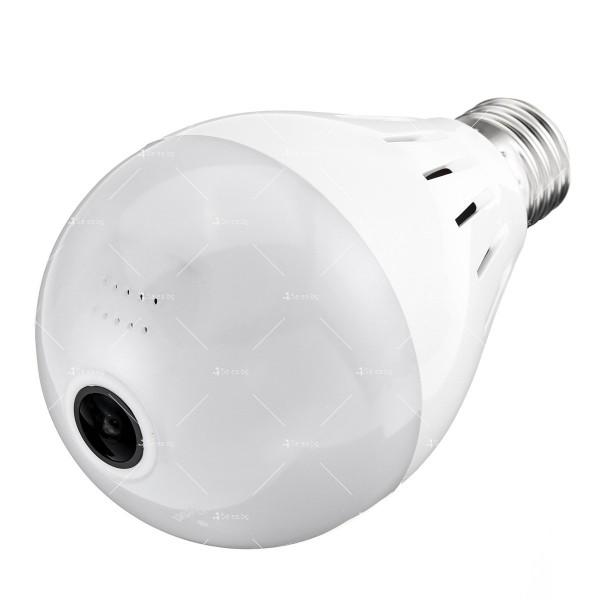 Електрическа крушка с 360 градуса панорамна HD камера, WI FI , SD слот IP10 5
