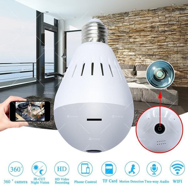 Електрическа крушка с 360 градуса панорамна HD камера, WI FI , SD слот IP10 9