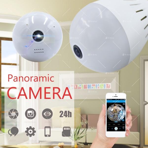 Електрическа крушка с 360 градуса панорамна HD камера, WI FI , SD слот IP10 10
