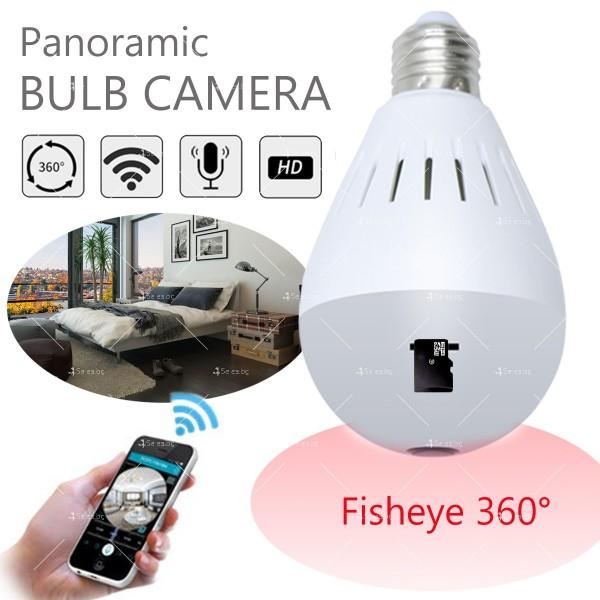 Електрическа крушка с 360 градуса панорамна HD камера, WI FI , SD слот IP10 12