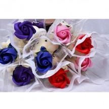 Комплект за подарък - роза от сапун и мече