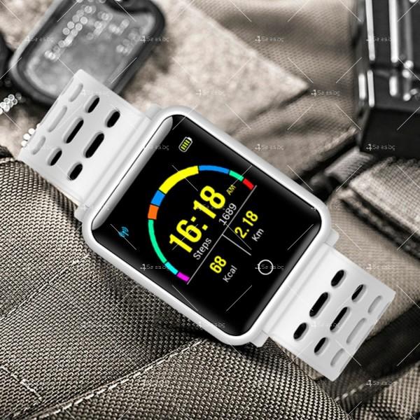 модерен и елегантен водоустойчив смарт часовник с цветен екран и Bluetooth SMW38 3