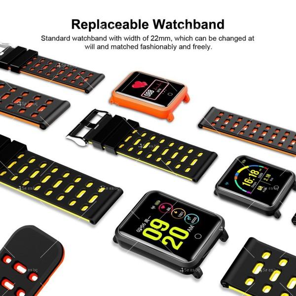 модерен и елегантен водоустойчив смарт часовник с цветен екран и Bluetooth SMW38 8