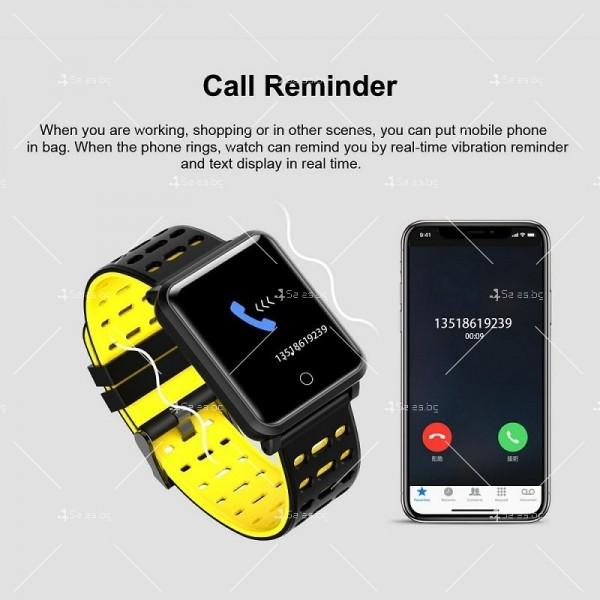 модерен и елегантен водоустойчив смарт часовник с цветен екран и Bluetooth SMW38 14