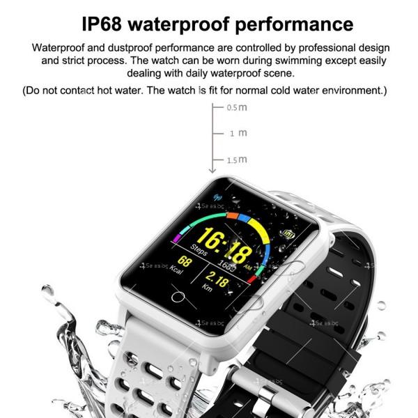 модерен и елегантен водоустойчив смарт часовник с цветен екран и Bluetooth SMW38 23