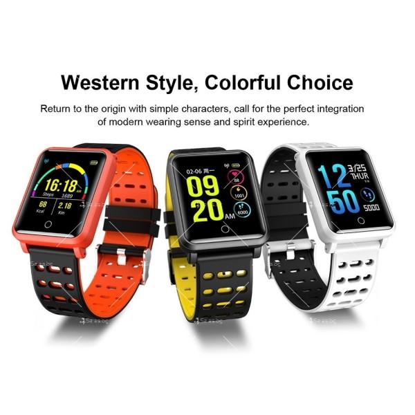 модерен и елегантен водоустойчив смарт часовник с цветен екран и Bluetooth SMW38 13
