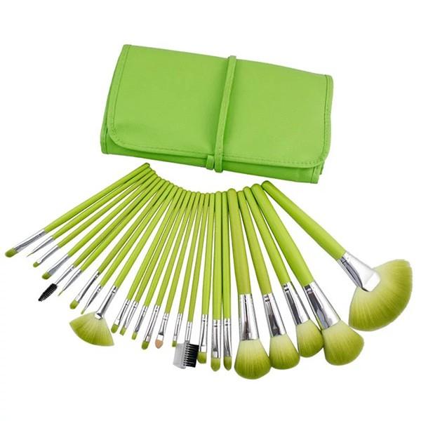 Комплект от 24 четки за грим в разгъваща се чантичка в красиви цветове HZS72 2