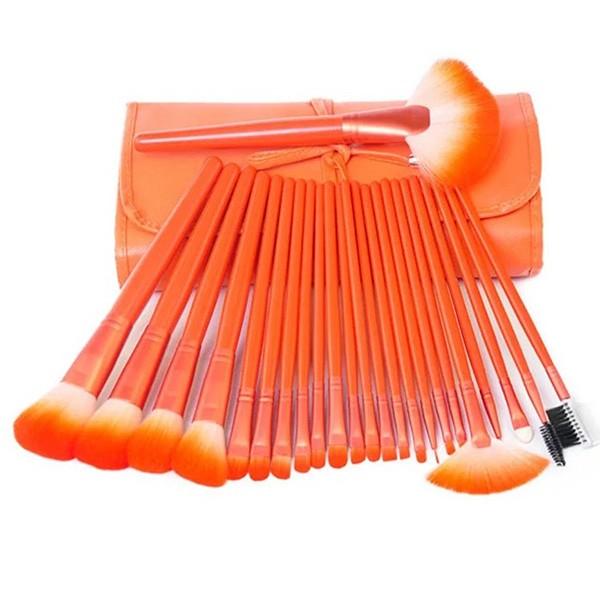 Комплект от 24 четки за грим в разгъваща се чантичка в красиви цветове HZS72