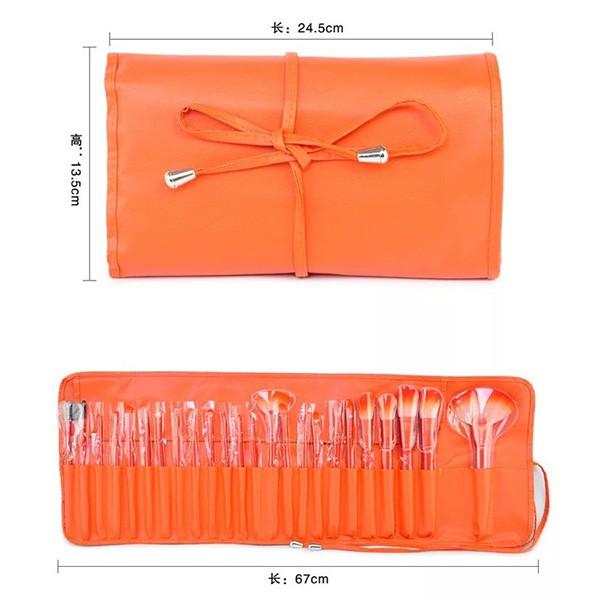 Комплект от 24 четки за грим в разгъваща се чантичка в красиви цветове HZS72 6