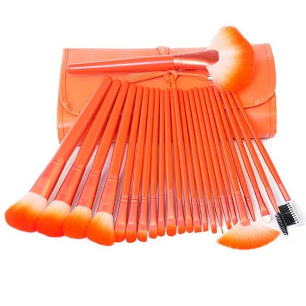 Комплект от 24 четки за грим в разгъваща се чантичка в красиви цветове HZS72 9