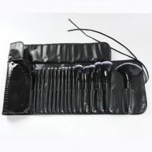 Стилен комплект от 32 на брой четки за грим в черна разгъваща се чантичка HZS75