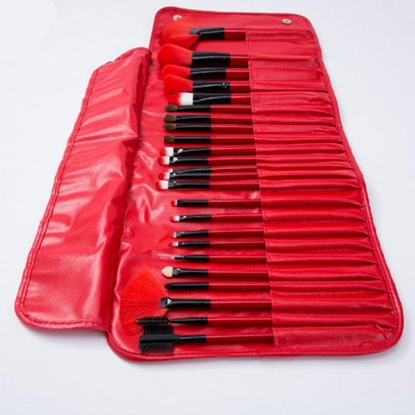 Красив комплект от 24 на брой четки за грим в разгъваща се чантичка HZS77 1