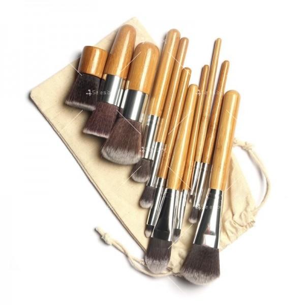 Комплект 11 броя Четки за грим с бамбукови дръжки HZS88 1