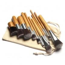 Комплект 11 броя Четки за грим с бамбукови дръжки HZS88