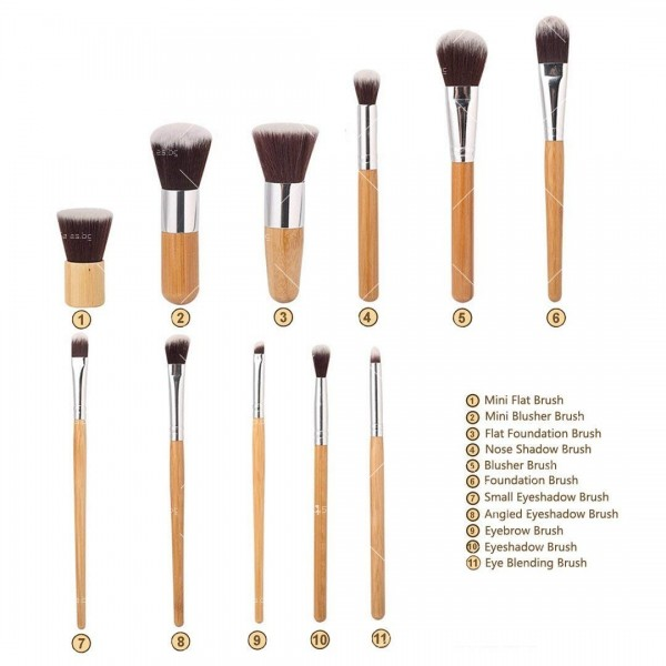 Комплект 11 броя Четки за грим с бамбукови дръжки HZS88 6