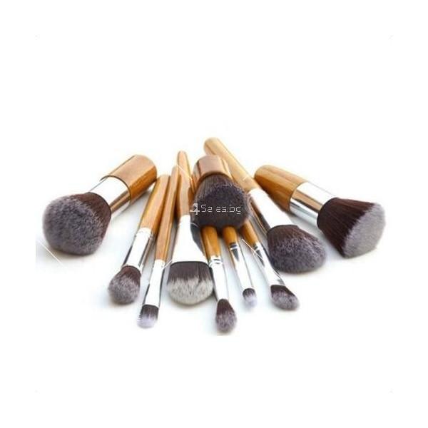 Комплект 11 броя Четки за грим с бамбукови дръжки HZS88 11