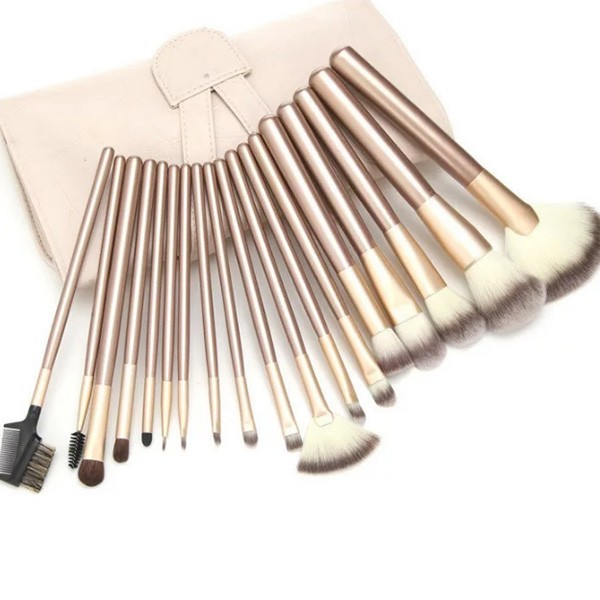 Комплект от 18 четки за гримиране в чантичка цвят шампанско HZS39
