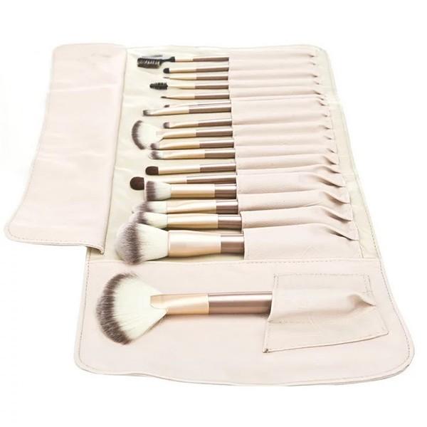 Комплект от 18 четки за гримиране в чантичка цвят шампанско HZS39 4