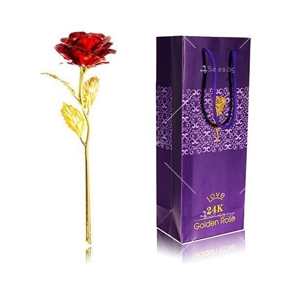 Изкуствена роза с 24-каратово златно покритие и стойка Сърце 7