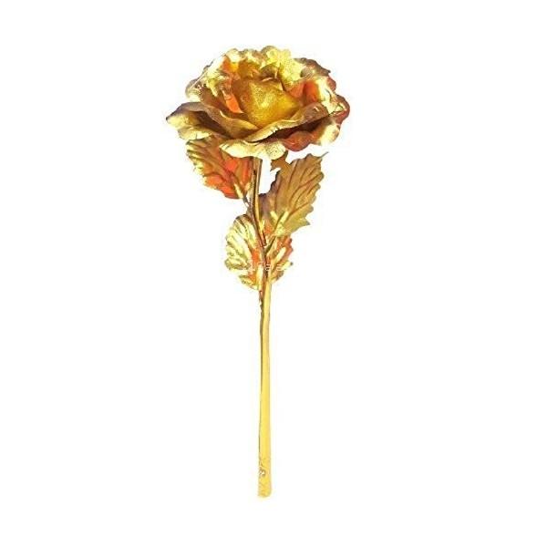 Изкуствена роза с 24-каратово златно покритие и стойка Сърце 14
