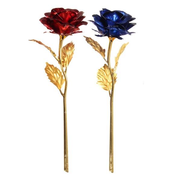 Изкуствена роза с 24-каратово златно покритие и стойка Сърце 21