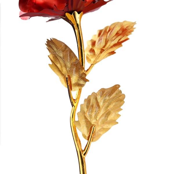 Изкуствена роза с 24-каратово златно покритие и стойка Сърце 33