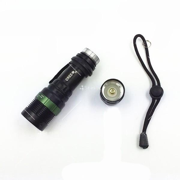 фенер CREE Q5 нагласяне с въртене и увеличение и тактова светкавица FL1 6