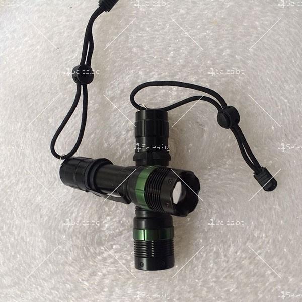 фенер CREE Q5 нагласяне с въртене и увеличение и тактова светкавица FL1 8