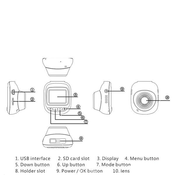 Камера за кола 1,5 инча със скрит рекордер, обратно виждане, HD запис и Wifi 3