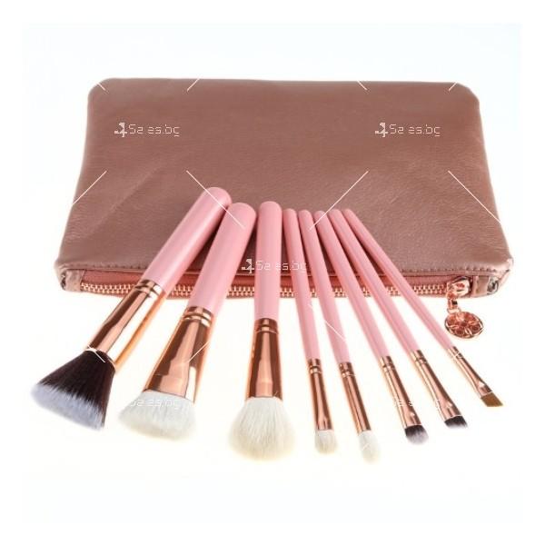 Стилна розова чантичка с 8 броя четки за перфектен грим HZS94