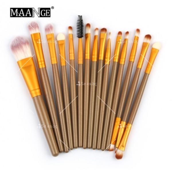 Колекция четки за грим с дървени дръжки в различен цвят 15 броя HZS100 3