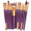 Колекция четки за грим с дървени дръжки в различен цвят 15 броя HZS100 8