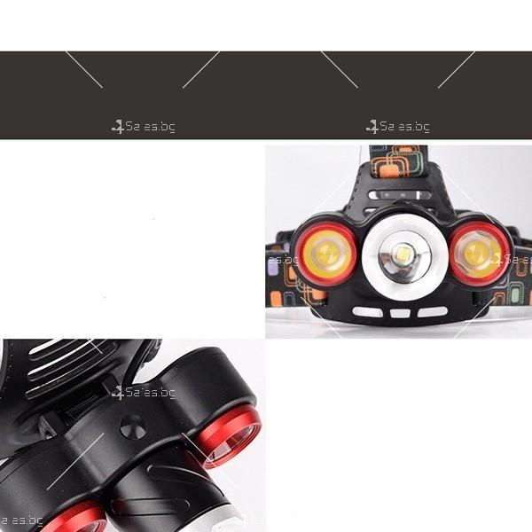Троен водоустойчив челник – фенер с Ares 3LED T6 силни главни светлини FL18 4