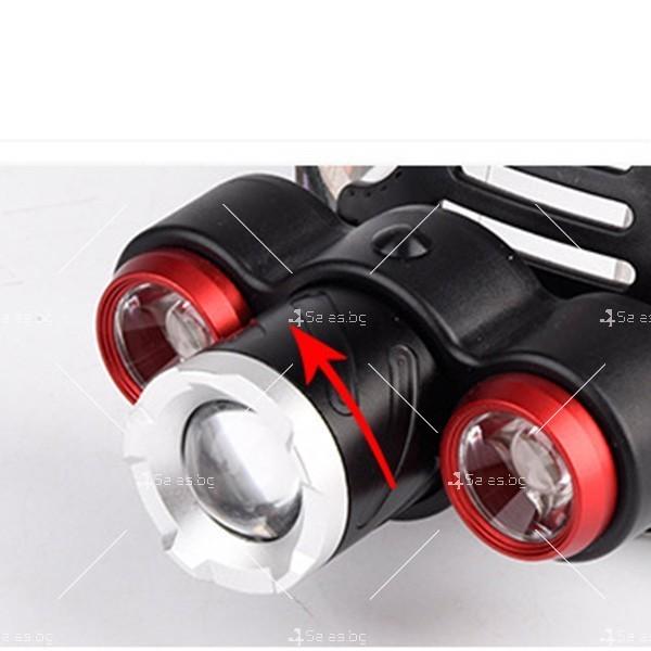 Троен водоустойчив челник – фенер с Ares 3LED T6 силни главни светлини FL18 6