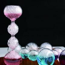 """Елегантен стъклен, цветен таймер – тип """"пясъчен часовник"""" с мехурчета SL4"""