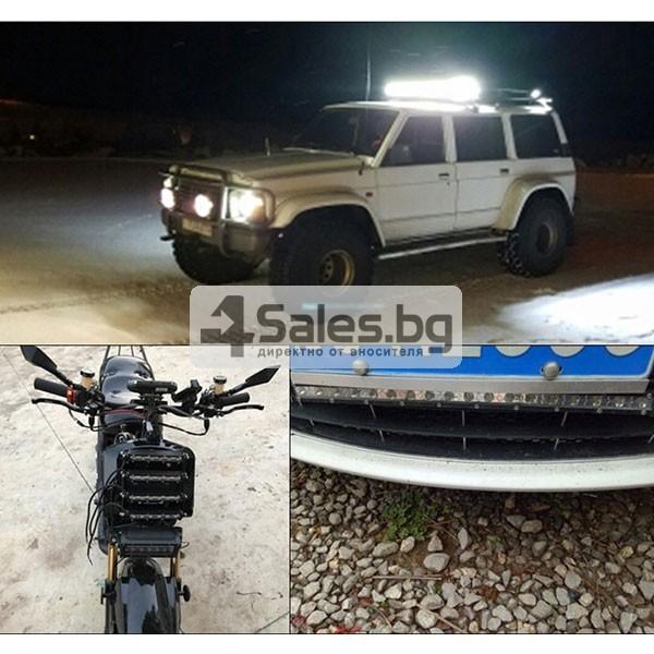 Външен прожектор със шест LED крушки за автомобили и мотоциклети 90 W LED BAR3 8