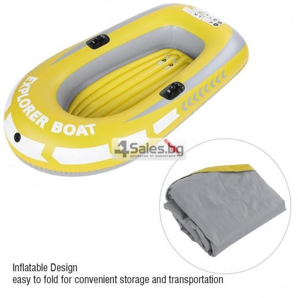 Едноместна надуваема каучукова лодка с PVC защита, помпа и гребла BOAT 5 3