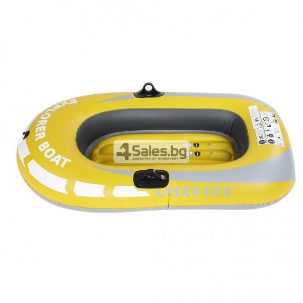 Едноместна надуваема каучукова лодка с PVC защита, помпа и гребла BOAT 5 7