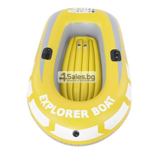 Едноместна надуваема каучукова лодка с PVC защита, помпа и гребла BOAT 5