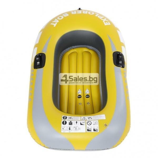 Едноместна надуваема каучукова лодка с PVC защита, помпа и гребла BOAT 5 12