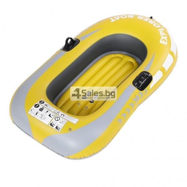 Едноместна надуваема каучукова лодка с PVC защита, помпа и гребла BOAT 5 14