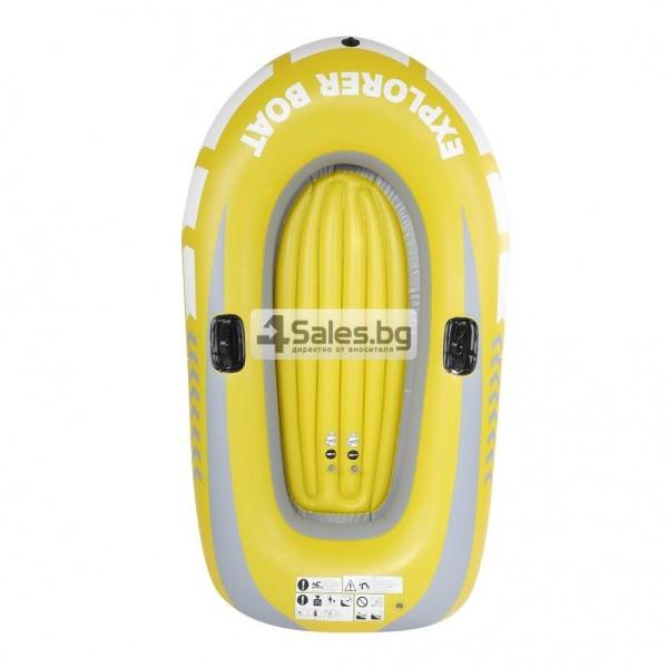 Едноместна надуваема каучукова лодка с PVC защита, помпа и гребла BOAT 5 16